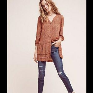 Anthropologie Pavin Button Down Tunic Top
